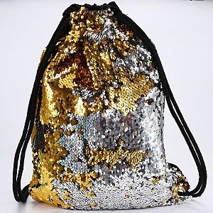 Рюкзак с двусторонними пайетками на затягивающемся шнурке