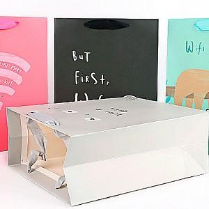 Подарочный пакет «I need wifi and coffee» маленький