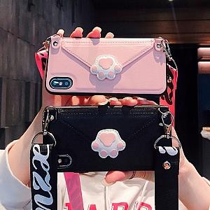 Чехол для iPhone с ремешком «Кошачья лапка»
