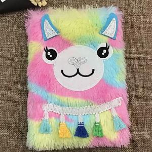 Блокнот с мехом «Rainbow Lama»
