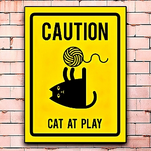 Постер «Caution! Cat at play» большой