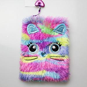 Блокнот с мехом «Rainbow cat»