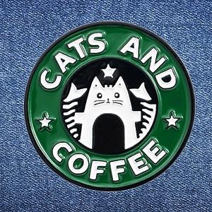Брошь-значок «Cats and coffee»