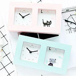 Настольные часы «Cat behind glass»