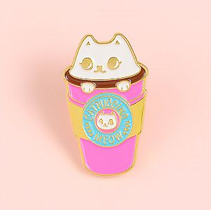 Брошь-значок «Pink Catpuccino»