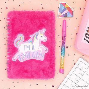 Блокнот с мехом «I'm a unicorn»